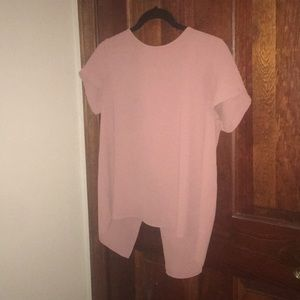 pink open backs blouse